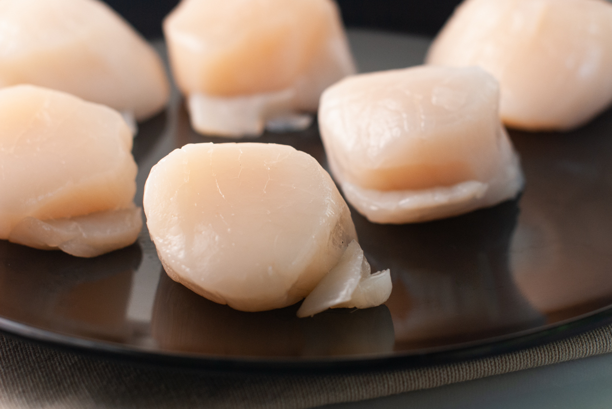 "A black plate with large, raw scallops with the ""foot"" still attached."