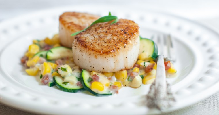 Seared Scallops with Corn and Tarragon