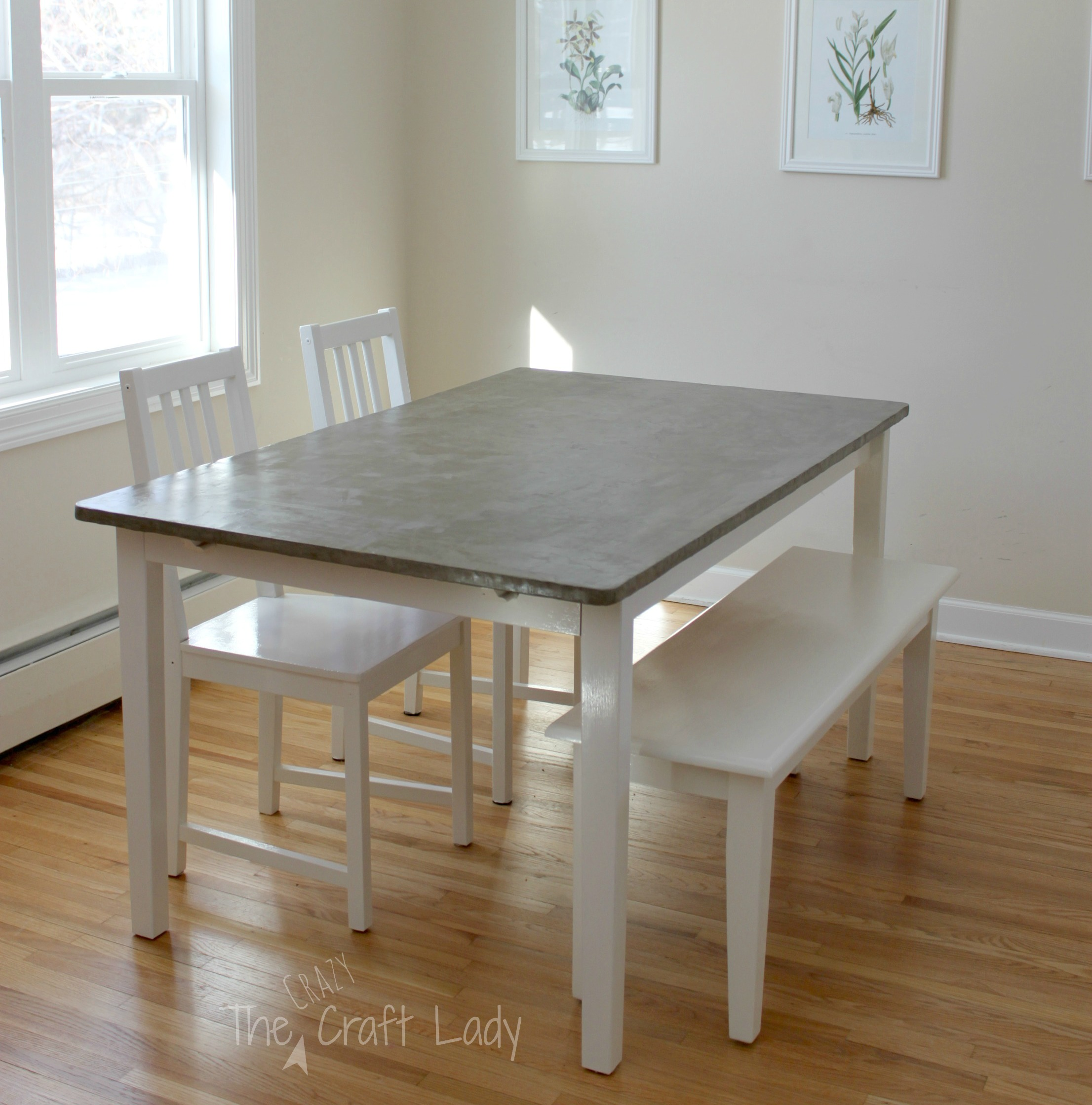 concrete kitchen table cabinet corner shelf diy dining top and set makeover the crazy