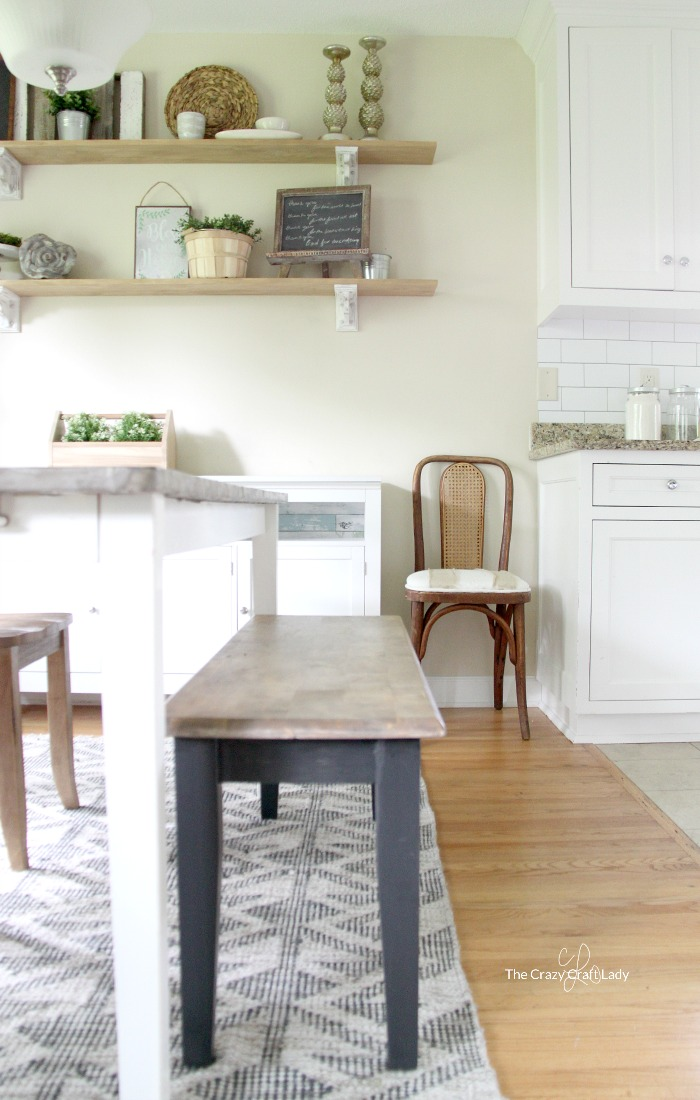 Easy and Inexpensive Farmhouse Kitchen Shelves