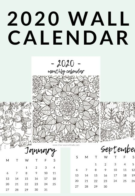 free printable  adult coloring calendar  the crazy