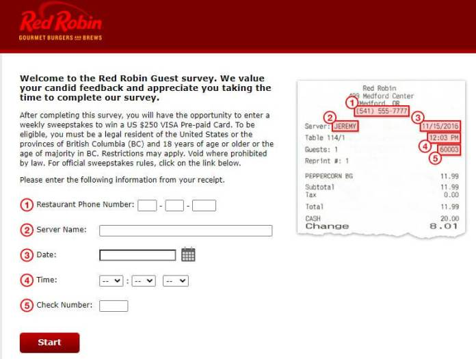 Red Robin Survey
