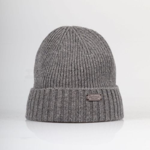 barbour wool mix beanie in grey with fleece lining