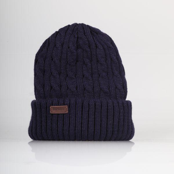 barbour navy blue beanie with cable knitted pattern