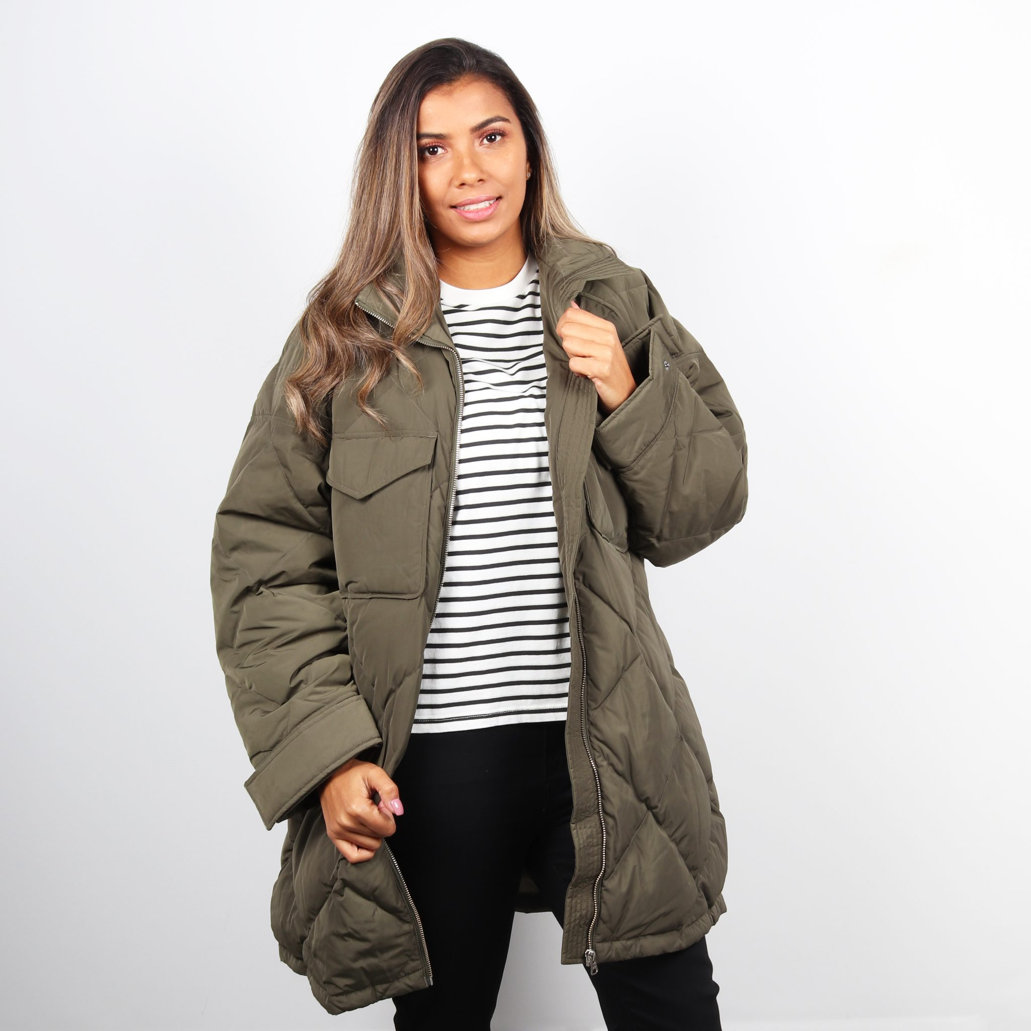 Levis Womens Diamond Quilted Puffer Jacket - Olive Night 0