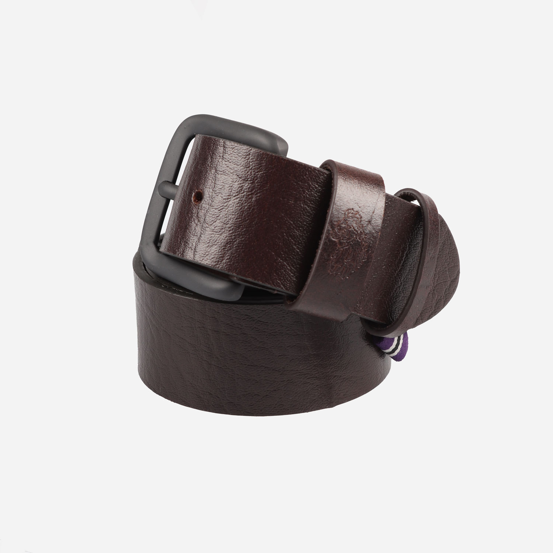 Luke Summit Leather Lion Debossed Buckle Belt - Brown 0