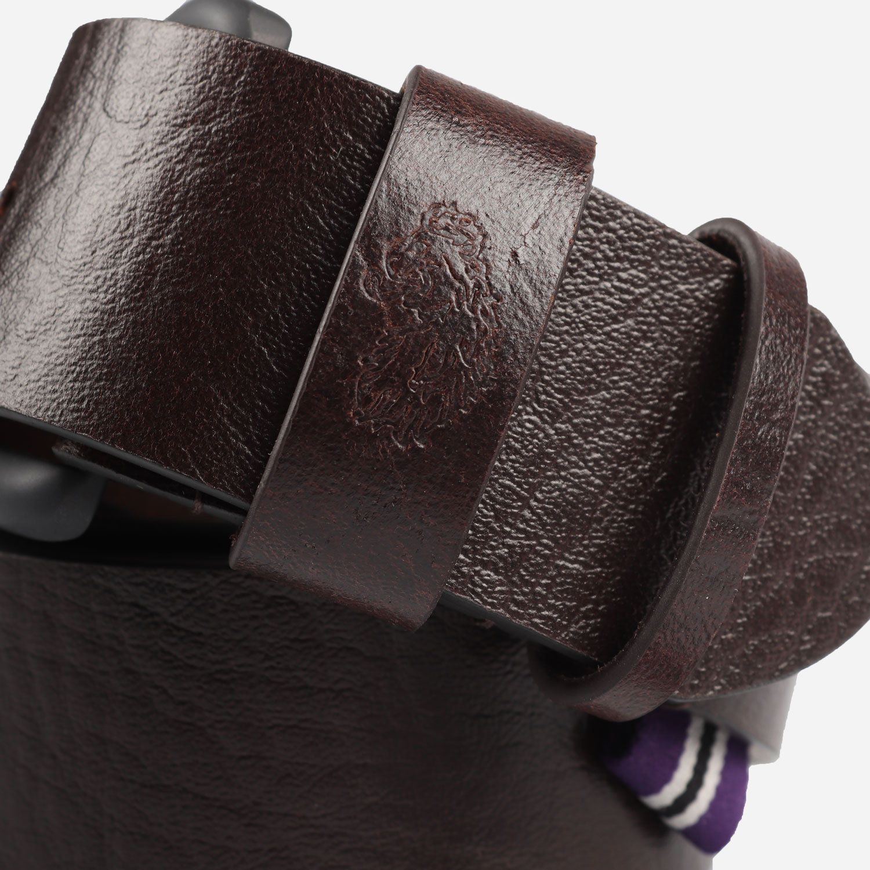 Luke Summit Leather Lion Debossed Buckle Belt - Brown 1