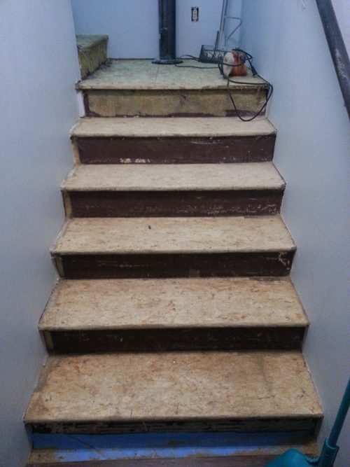 How To Makeover Osb Stairs The Created Home   Particle Board Stair Treads   Uncarpeted   Mdf   Refinish   Rough Cut   Recycled