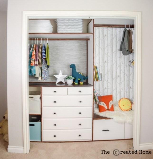 DIY custom kids' closet with reading nook