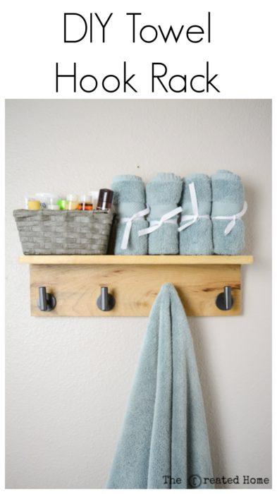 diy wooden towel hook rack tutorial
