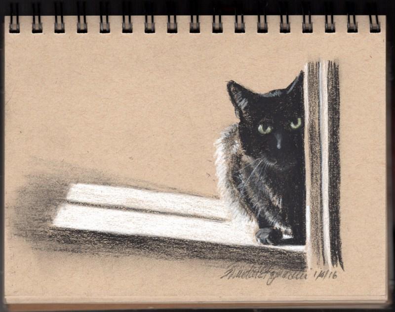 """Waiting Around the Corner"", black and white charcoal and pastel on toned paper, 5"" x 8"" © Bernadette E. Kazmarski"