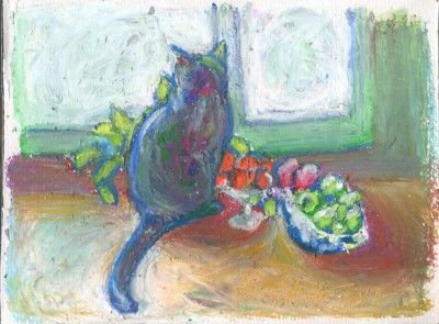 oil pastel sketch of cat looking out window