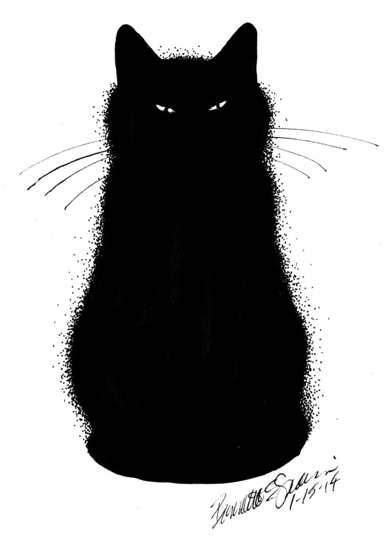 ink sketch of black cat