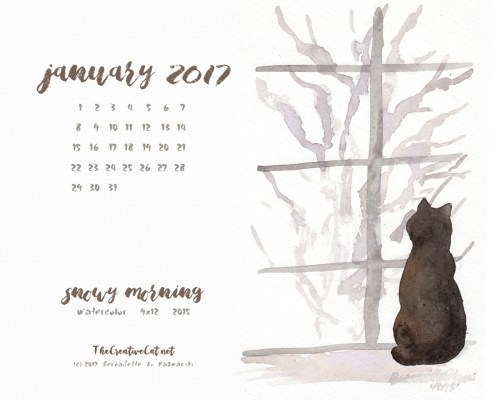 """""""Snowy Morning"""" desktop calendar, 1280 x 1024 for square and laptop monitors."""