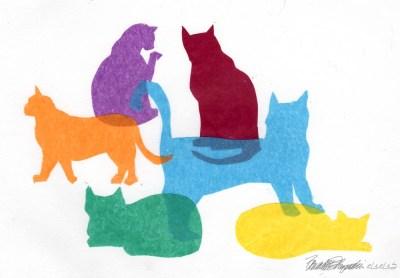 """""""Colorful Kitties"""", cut tissue paper on white multimedia paper, 6.5"""" x 8"""" © Bernadette E. Kazmarski"""