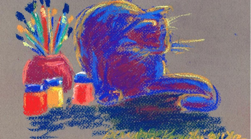 pastel drawing of cat with paints and brushes