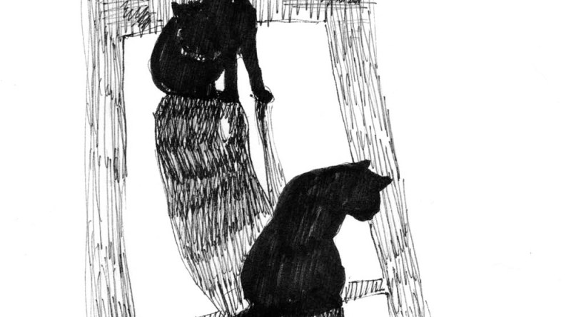 ink sketch of two cat silhouettes