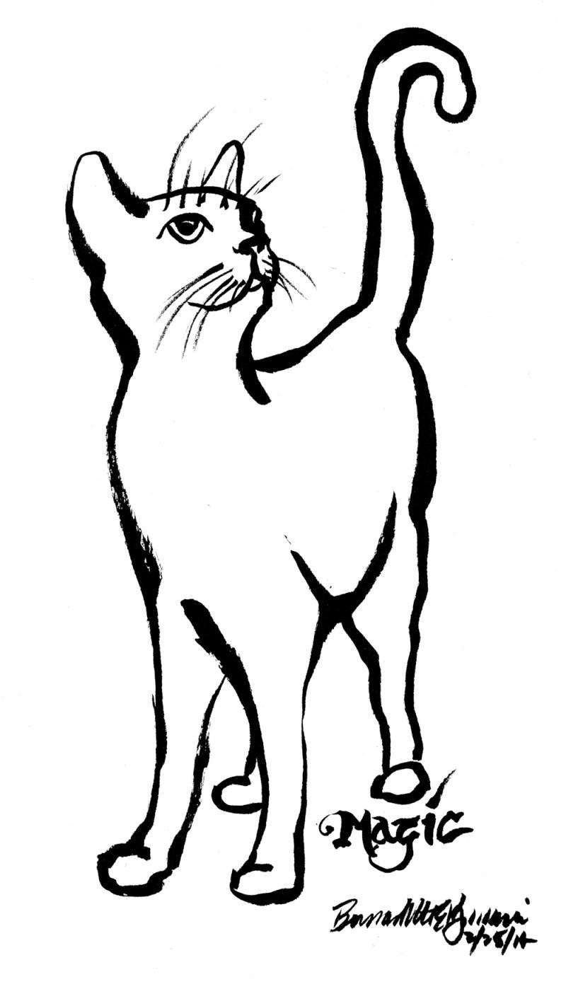 brush sketch of black kitten