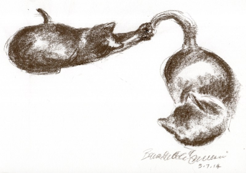 pastel sketch of one cat chasing anothers' tail