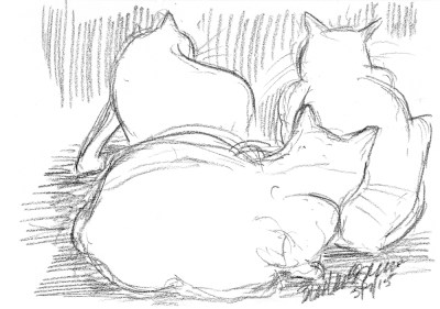 """Chillin"", charcoal pencil, 10"" x 7"" © Bernadette E. Kazmarski charcoal pencil sketch of three cats"