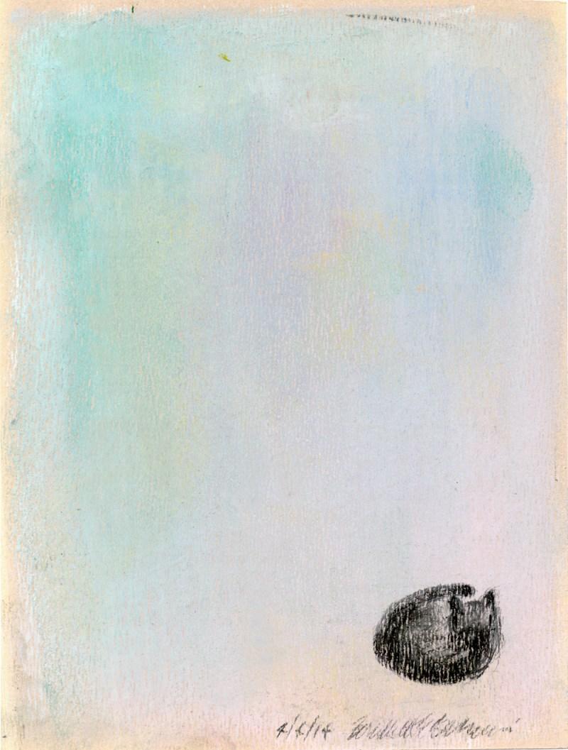 pastel sketch of samall black cat on pastel background