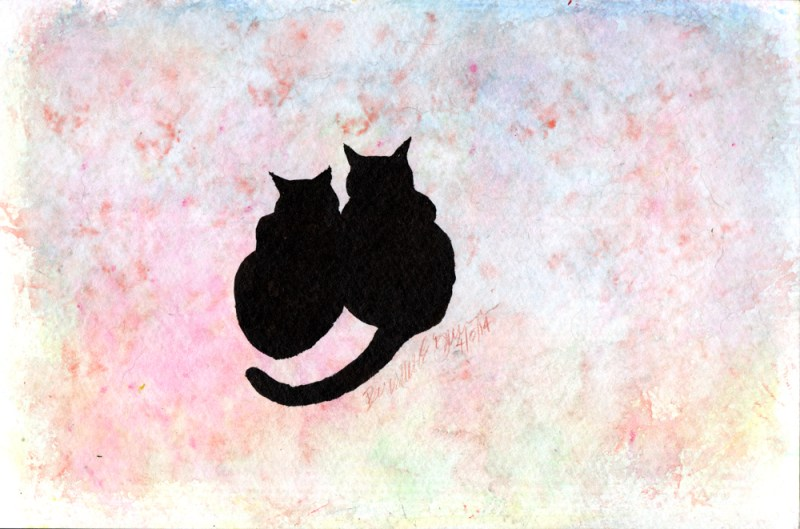 ink brush and watercolor sketch of two cats