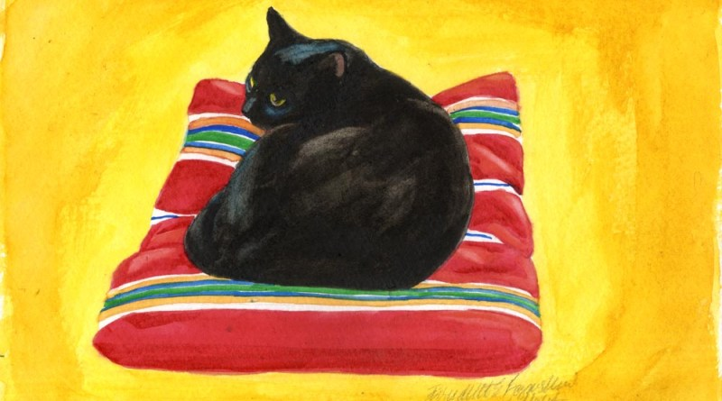 watercolor of black cat on striped pillow spanish classical guitar