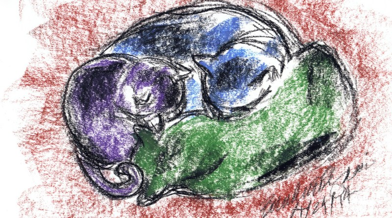 pastel sketch of three cats cuddling