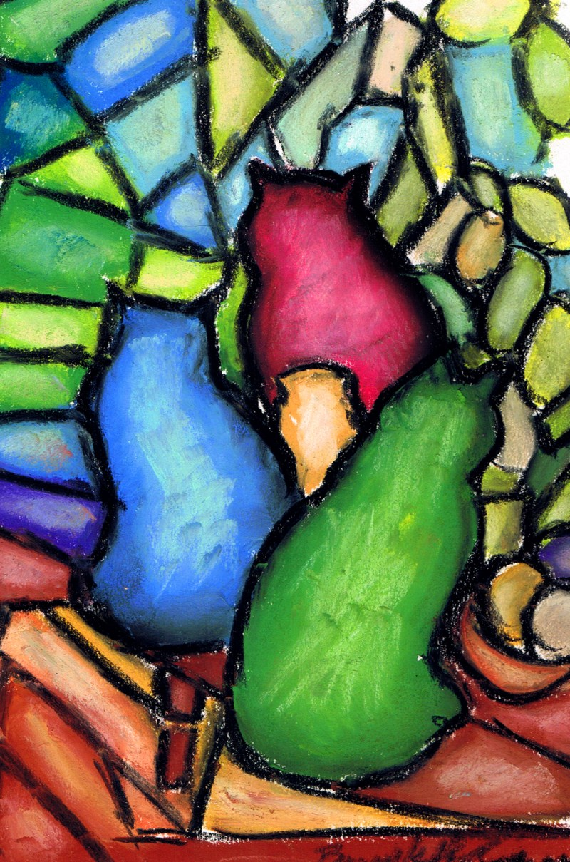 pastel drawing of three cats like stained glass