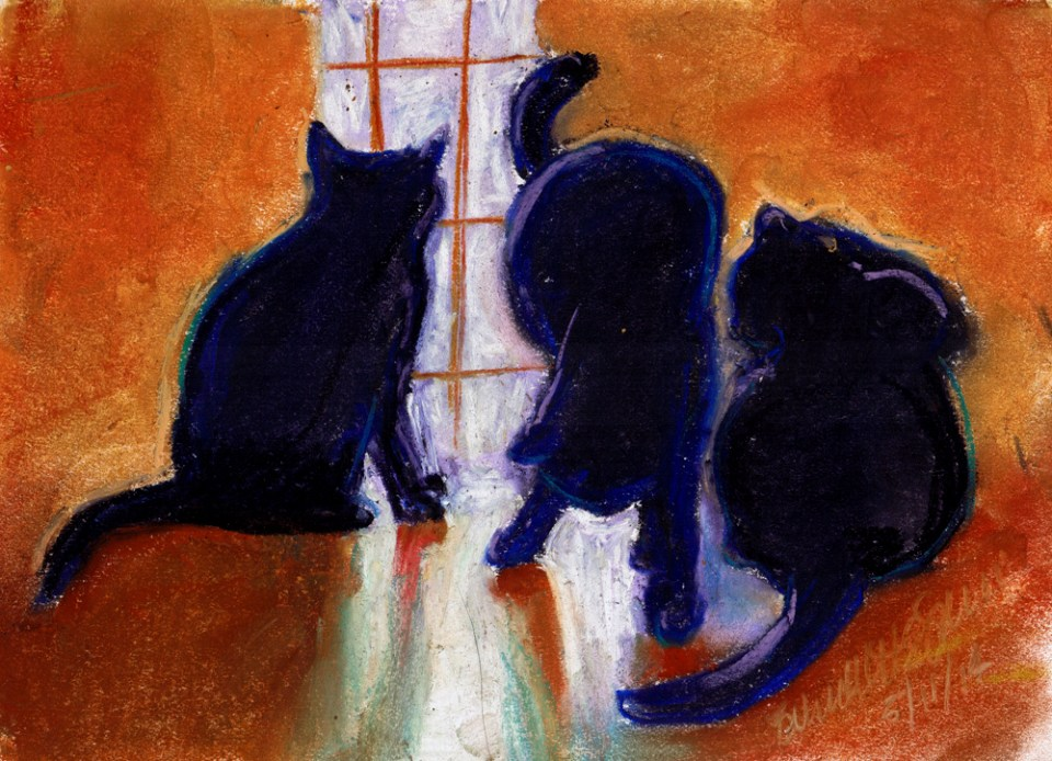 pastel sketch of three cats in silhouette
