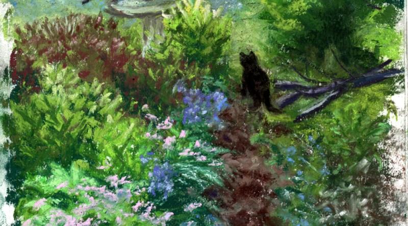 """The Woodland Garden"", pastel, 7"" x 10"" © Bernadette E. Kazmarski"