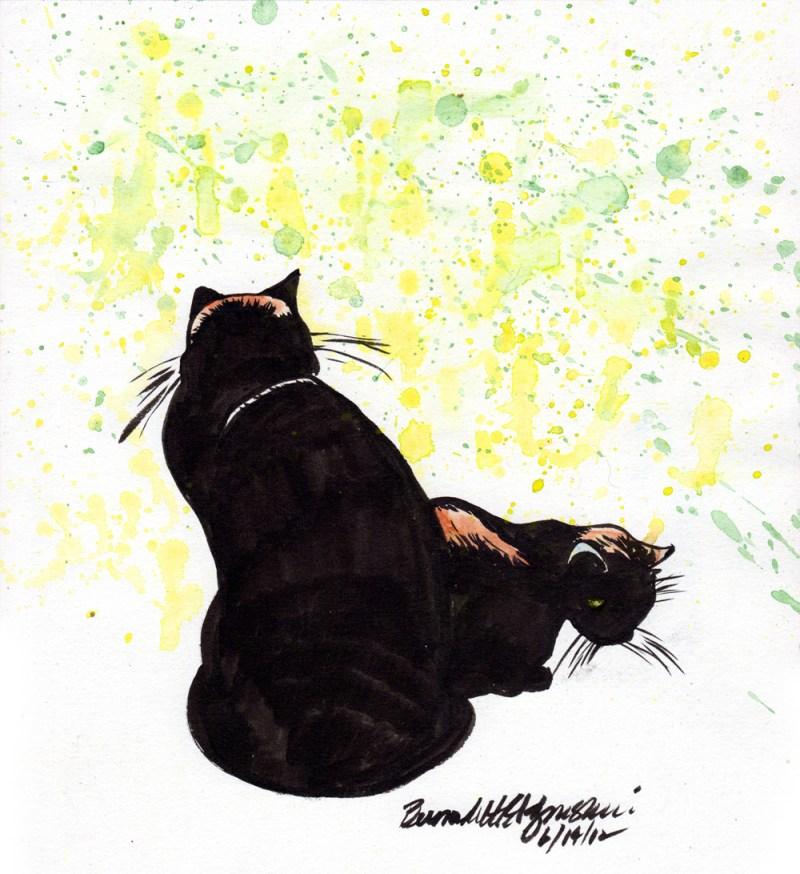 """In Afternoon Sun"", ink brush pen and watercolor, 8"" x 10"" © Bernadette E. Kazmarski"