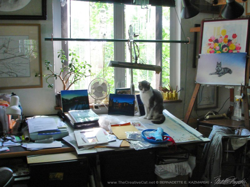 Namir on my drafting table when my studio was downstairs.