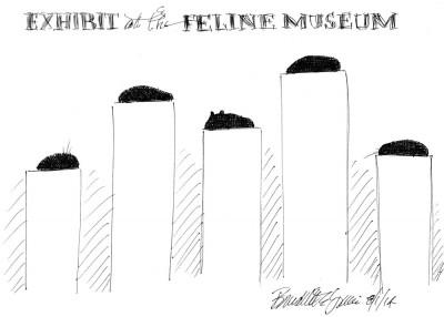 sketch of five black cats on pedestals