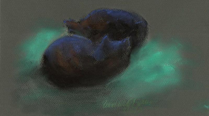 """Deep in Sleep"", Sennelier soft pastels on pastello paper, 10"" x 6.5"" © Bernadette E. Kazmarski"