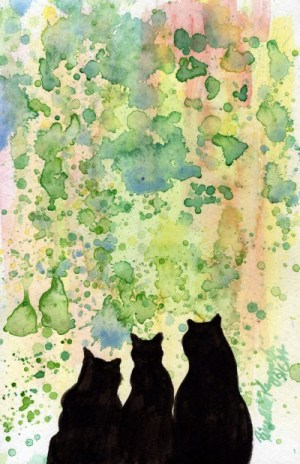 watercolor of three black cats with spattered background
