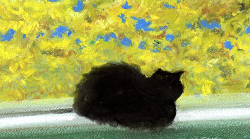 """Emeraude's Autumn Afternoon"", pastel on pastello paper, 9"" x 7"" © Bernadette E. Kazmarski"
