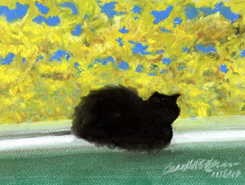 """Emeraude's Autumn Afternoon"", pastel on pastello paper, 9"" x 7"" © Bernadette E. Kazmarski"