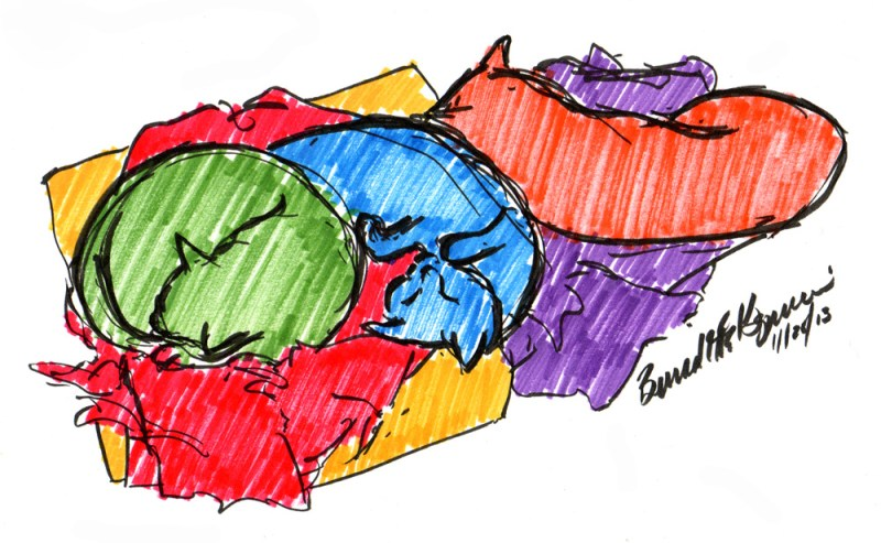 marker sketch of cats