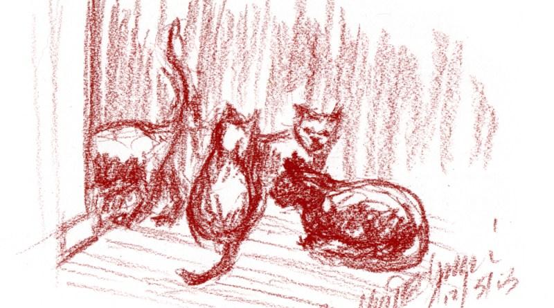 conte sketch of four cats