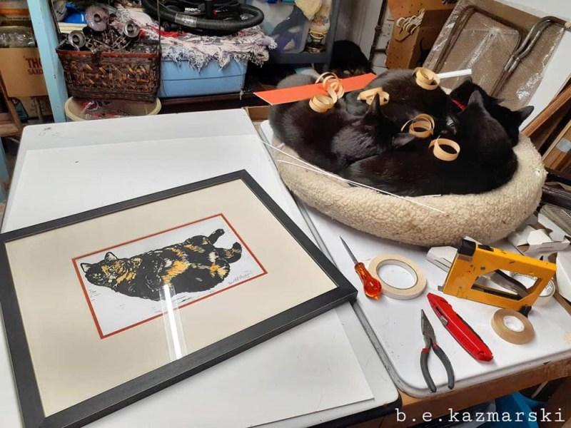 tortoiseshell cat block prints