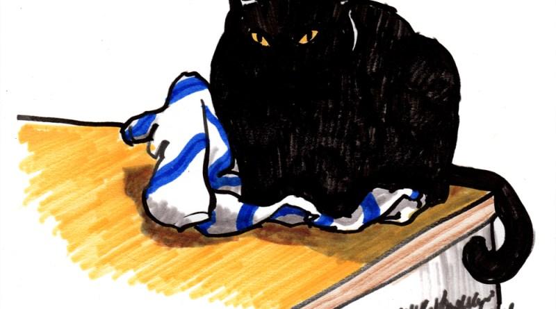 brush marker sketch of black cat