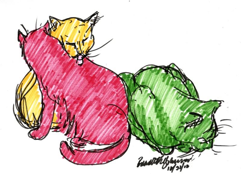 """Three Cats Waiting"", Brush markers, 8.5"" x 6.5"" © Bernadette E. Kazmarski"