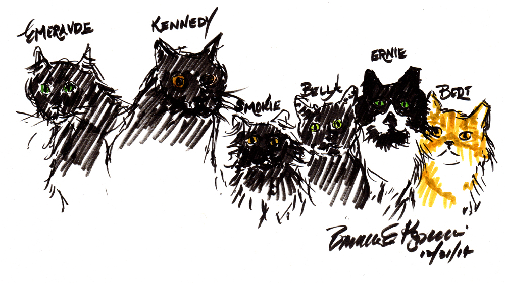 sketch of six cats