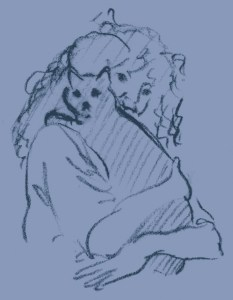 charcoal sketch of woman holding cat