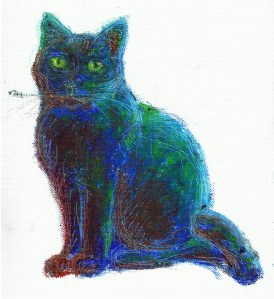 oil pastel sketch of cat in blues and greens