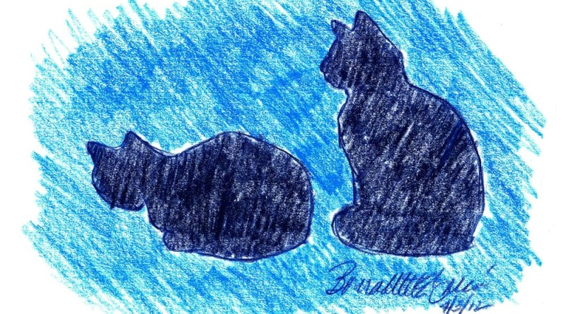 colored pencil sketch of two cats