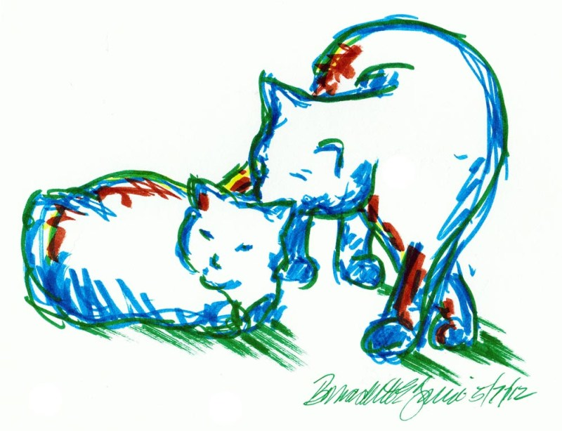 marker sketch of one cat bathing another