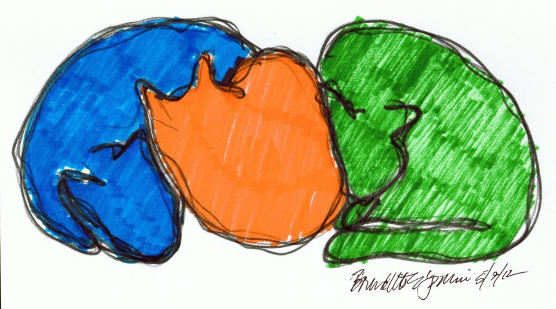 marker sketch of three cats in color