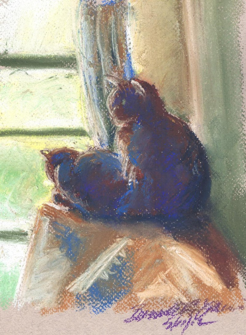 pastel sketch of two cats by window